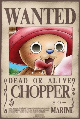 POSTER PLASTIFICATO ONE PIECE WANTED CHOPPER